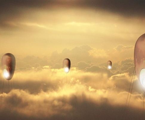 """""""居住在天空""""-生活在2050年-概念竞赛设计"""